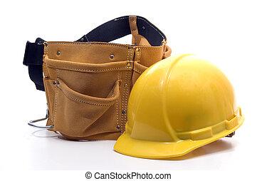 herramienta, sombrero duro, cinturón