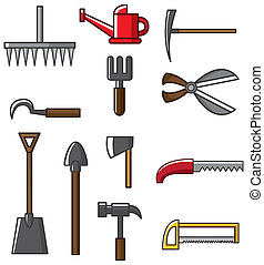 herramienta, vec, colección, mano, silueta