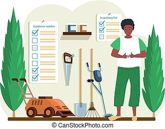 herramientas, arbustos verdes, joven, macho, traspatio, jardín, carácter, granero, jardinero, posición