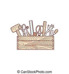 Herramientas artesanales en ilustración vectorial de la caja de herramientas