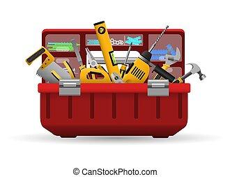 herramientas, caja de herramientas, kit, instrumento