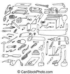 herramientas, conjunto, diferente, gráfico, dibujos