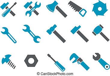 herramientas, conjunto, icono