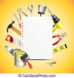 Herramientas de construcción con papel en blanco