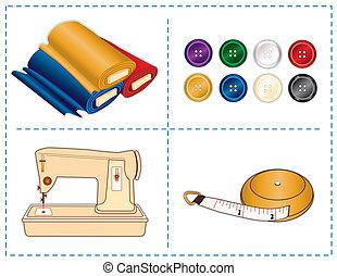 Herramientas de costura, colores de joyas