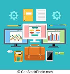 Herramientas de gestión con concepto de dispositivos digitales