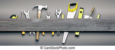 Herramientas de mano en el fondo gris de madera. Ilustración 3D