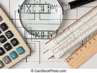 Herramientas de reactores en dibujo técnico