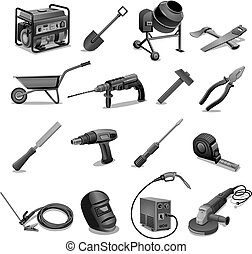 Herramientas de trabajo de construcción