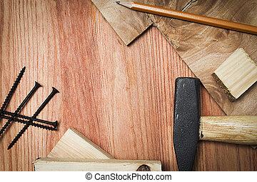 herramientas, edificio, o, reparación, materiales