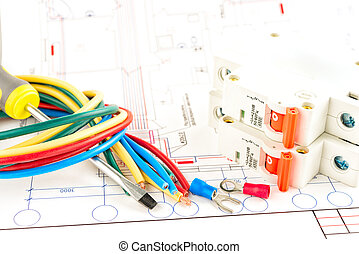 Herramientas eléctricas de fondo blanco