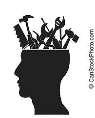herramientas en la cabeza