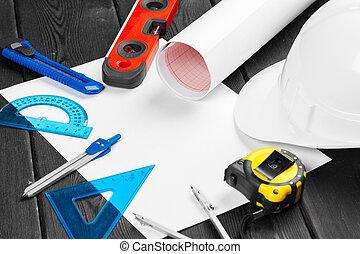 herramientas, encima, variedad, blanco, espacio de copia, medio, arriba, plano de fondo, de madera, reparación, cierre, hardhat