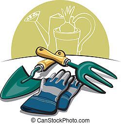 herramientas, guantes, jardinería