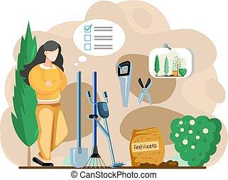 herramientas, hembra, carácter, paisaje, lista, granero, inventario, diseñador, jardinero, posición