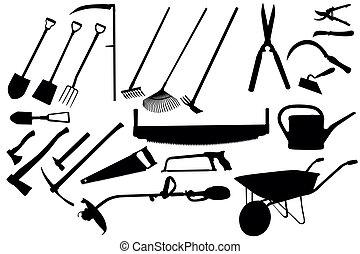 herramientas, jardinería, colección