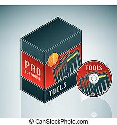 herramientas, lío, software