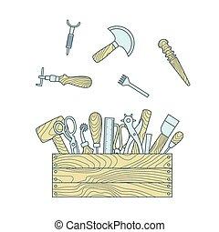 Herramientas manuales de cuero en ilustración vectorial de la caja de herramientas