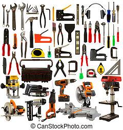 herramientas, plano de fondo, aislado, blanco