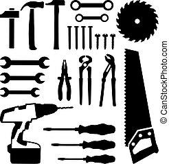 Herramientas puestas, sierra, llave, destornillador, clavos, tornillo, taladro
