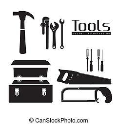 herramientas, silueta
