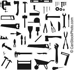 herramientas, siluetas, instrumentos, trabajo de construcción