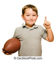 he's, actuación, fútbol, aislado, número 1, celebrar, niño, blanco