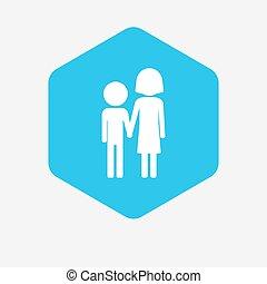 Hexágono aislado con un pictograma de la infancia