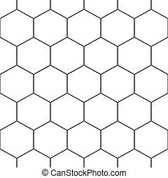 Hexágono de panal negro sin costura en fondo blanco