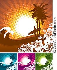 Hibiscus y siluetas surfistas en un paisaje de playa tropical - ilustración vectorial