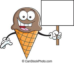 hielo, si, cono, tenencia, caricatura, crema
