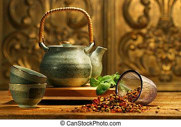 hierba, asiático, té