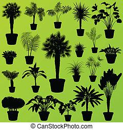 Hierba de arbustos exóticos, juncos, juncos, plantas silvestres de palmeras establecen el vector de plantas de fondo para el poster