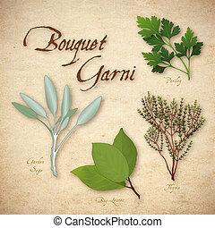 hierba, mezcla, francés, ramito de hierbas aromáticas