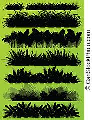 Hierba tropical exótica y plantas detalladas de siluetas paisajes ilustraciones de la colección de vectores de fondo