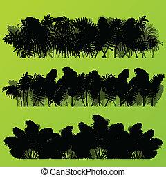 Hierba tropical exótica y plantas detalladas siluetas de ilustración de paisajes vector de fondo