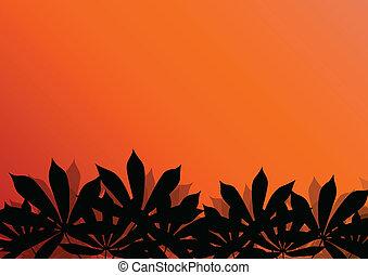 Hierba tropical exótica y plantas detalladas siluetas ilustran vector de fondo de paisajes
