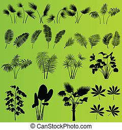 Hierba tropical exótica y plantas vector de fondo