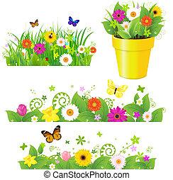 Hierba verde con flores puestas