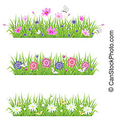 Hierba verde y flores