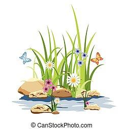 Hierba verde y flores en la roca