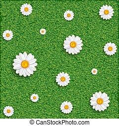 Hierba y flores.