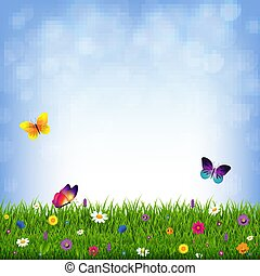 Hierba y flores