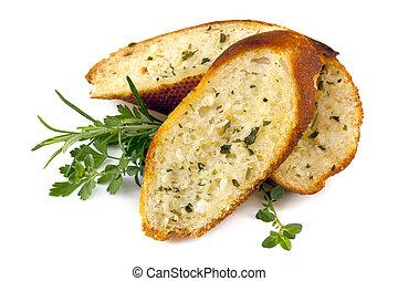 hierbas, ajo, aislado, bread