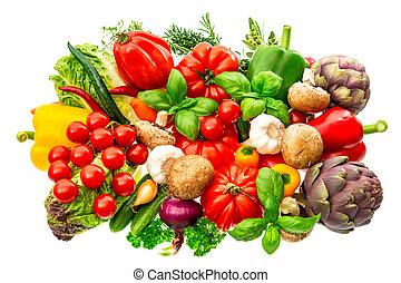 hierbas, alimento crudo, vegetales, aislado, fondo., blanco, ingr