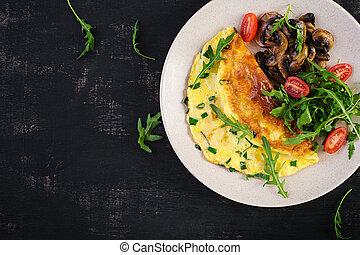 hierbas, frito, copia, omelet., frittata, -, verde, plato., italiano, sobre, tortilla, vista, hongos, cima, queso, espacio