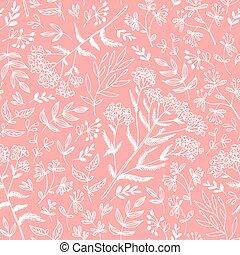 Hierbas sin costura y patrones de flores