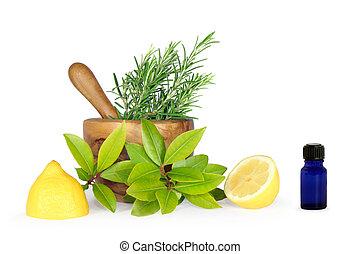 Hierbas y limones