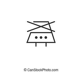 hierro, cuidado, design., planchado, lavado, vector, icon., ilustración, plano