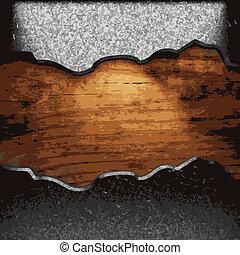hierro, madera, placa